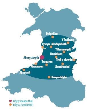 Map Ardal Canolbarth Cymru